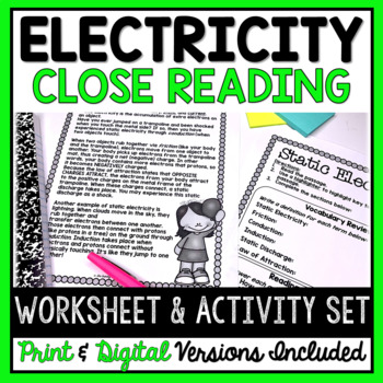 Electricity CLOSE Reading Passage And Activity Set