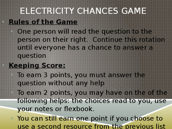 Electricity Chances Review Game