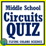 Electricity:  Circuits Quiz or Test Assessment for Middle School