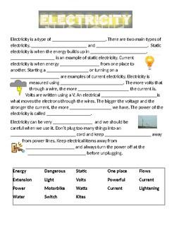 Electricity Cloze