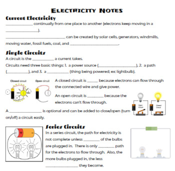 Electricity Cloze Notes (5th Grade)