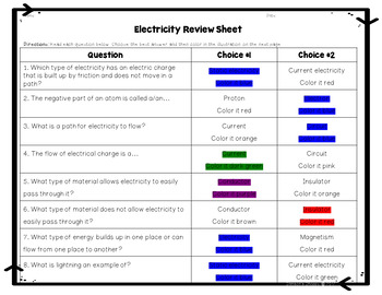 Electricity Color by Number Review Activity