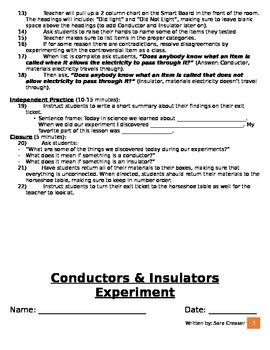 Electricity-Conductors & Insulators Experiment
