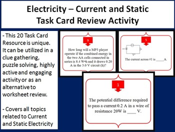 Electricity - Current and Static Task Card REVIEW GAME - Unique and Engaging