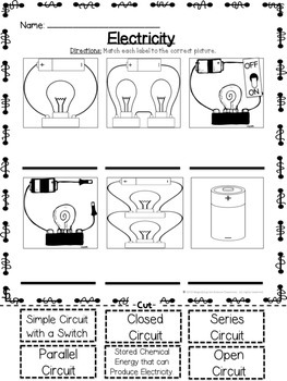 Electricity - Types of Circuits Cut and Paste Matching Activity | TpT