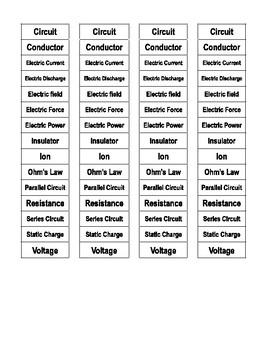 Electricity Cut-n-Paste Vocabulary
