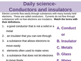 Daily Science- Electricity- Conductors and Insulators