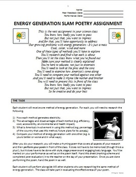 Electricity Generation Slam Poetry Project {Editable}