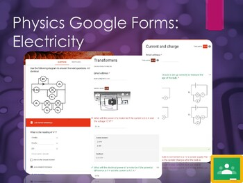 Electricity Google forms. 12 self marking forms for GoogleClassroom!