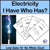 Electricity. I Have Who Has. Loop Game