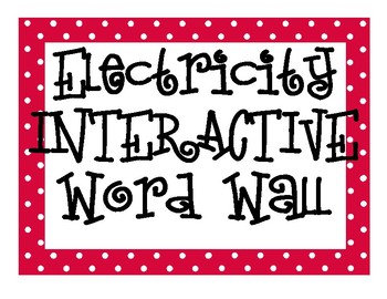 Electricity INTERACTIVE Word Wall