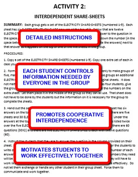 Electricity: Interdependent Share-Sheets Activity