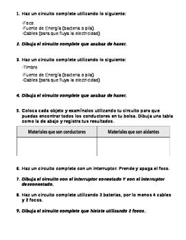 Electricity Lab Activity Friendly student guide (Bilingual Dual Language ESL )