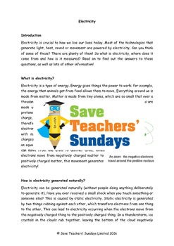 Electricity Lesson plan, Text and Worksheets (2 lessons)