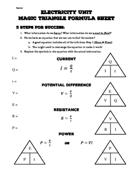 Electricity Magic Triangle Sheet