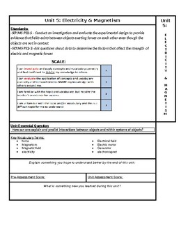 Electricity & Magnetism NGSS Unit page for ISN