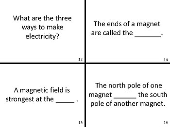 Electricity & Magnetism Physical Science Task Cards Test Prep Review Activity
