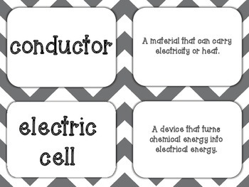 Electricity & Magnetism Vocabulary Card Game S5P3