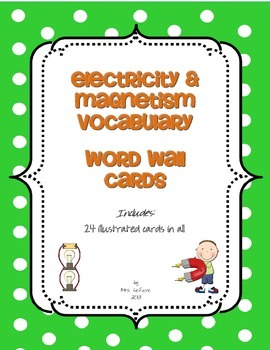 Electricity & Magnetism Vocabulary Word Wall Cards