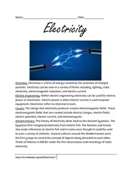 Electricity - Overview of the facts, history, and people lesson questions vocab