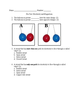 Electricity Pre-Test (8 questions)