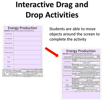 Electricity Production - Digital Interactive Notebook Pages