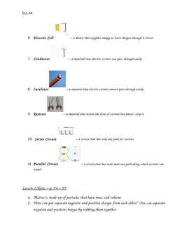Electricity Quiz Study Guide, ESL