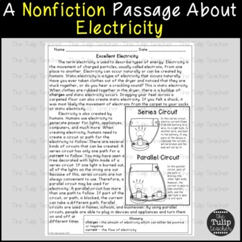 Electricity Reading Comprehension Paired Passage
