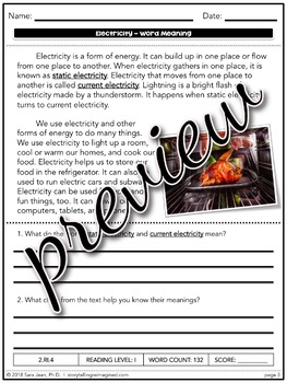 Electricity Context Clues Differentiated Reading Comprehension Passage