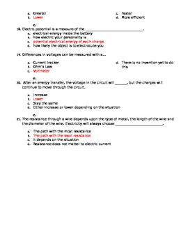 Electricity Review Worksheet or Assessment