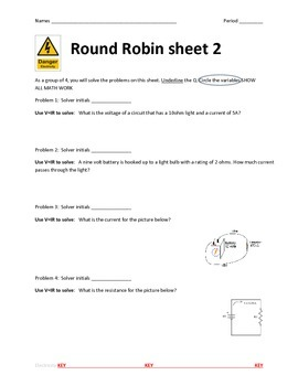 Electricity Ohm's Law Round Robin Activity
