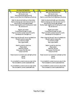 Electricity Song Lyrics Plus Student Interactive Notebook Version