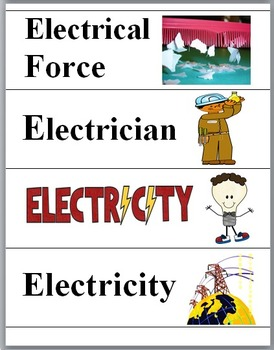 Electricity Word Wall Cards