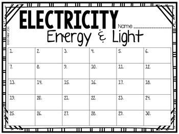 Electricity Task Cards (Energy & Light)