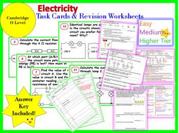 Electricity Task Cards & Revision Worksheet