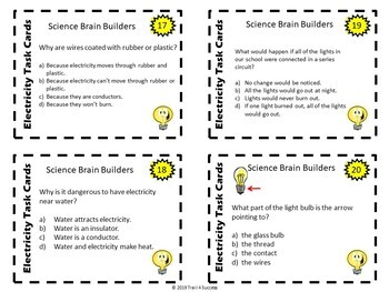 Electricity Task Cards - 40 Task Cards Cover Most States' Standards