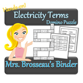 Electricity Terms Domino Puzzle - A fun vocabulary review game!