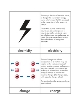 Electricity - Three/Four Part Cards