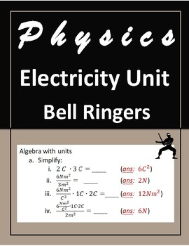 Electricity Unit Bell Ringers - High School Physics