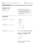 Electricity Unit Exam Study Guide Middle School
