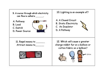 Electricity Unit/  Utah Sage Test Prep. Task Cards