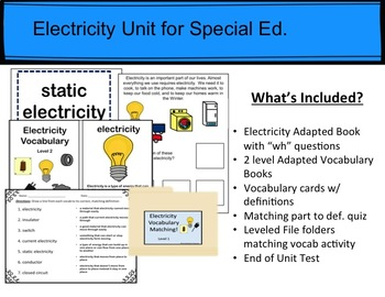 Electricity Unit for Special Education