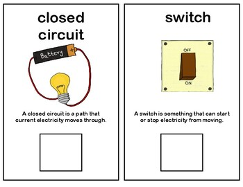 Electricity Vocabulary Adapted Book