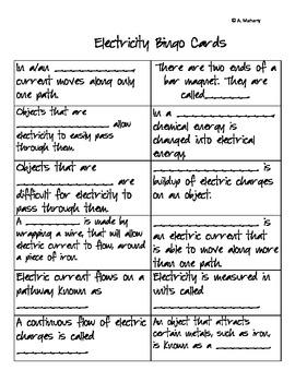 Electricity Vocabulary Bingo