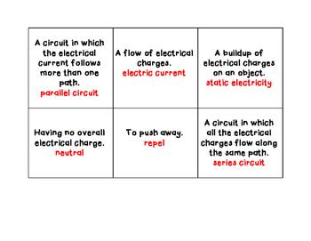 Electricity- Vocabulary Cards