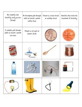 Electricity Vocabulary Match-Up