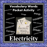 Electricity Vocabulary Pocket Activity with Definition and Word Wall Cards