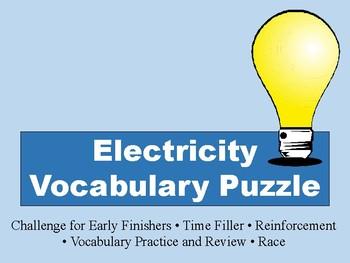 Electricity Vocabulary Puzzle