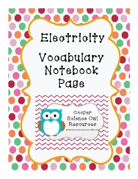 Electricity Vocabulary Science Notebook Page