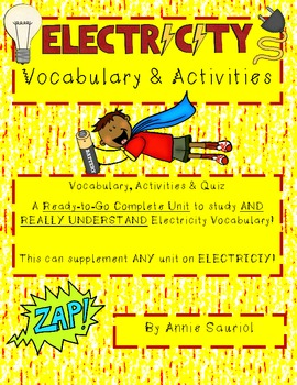 Electricity Vocabulary Study: Ready-to-Go Science Unit- Co